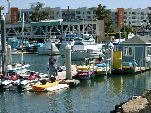 Harbor Village Marina, Oceanside California; rent a boat, take a ride, or fish with Helgrens in the Ocean or whale watch if it's that time of year, click to enlarge